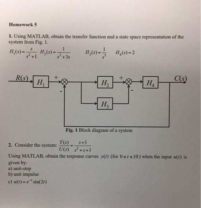 Solved homework 5 1 using matlab obtain the transfer fu using matlab obtain the transfer function and a state space representation ccuart Choice Image