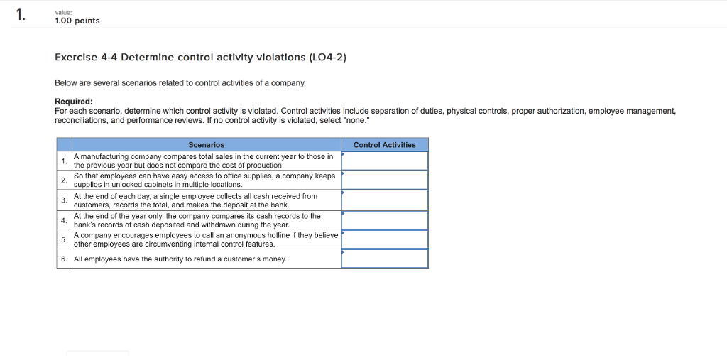 Solved: 1 1 0 Points Exercise 4-4 Determine Control Activi
