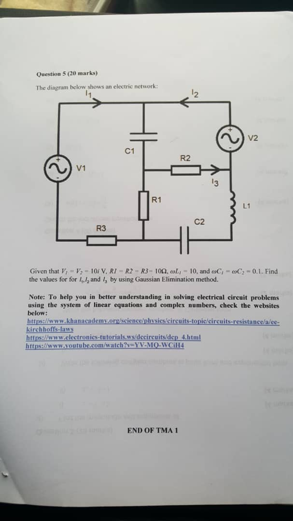 Solved question 5 20 marks the diagram below shows an e question 5 20 marks the diagram below shows an electric network 2 v2 c1 ccuart Choice Image