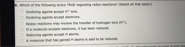 selected redox reactions