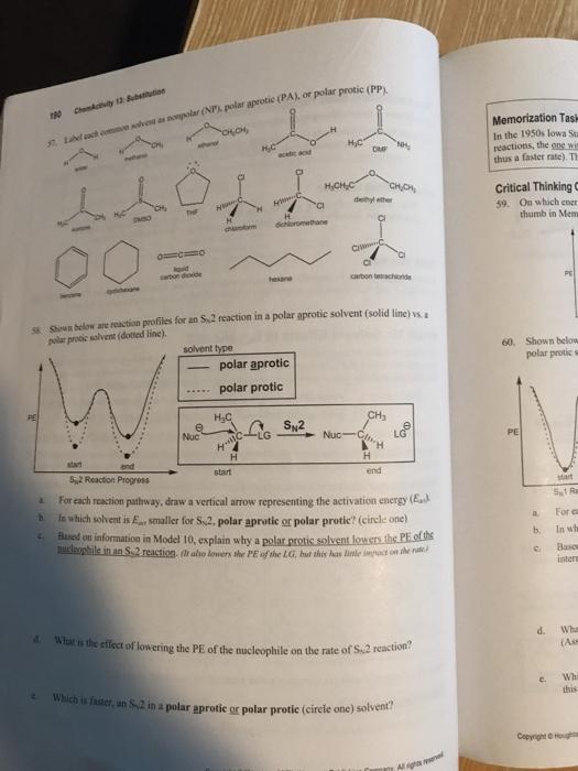 Solved: Polar Aprotic (PA), Or Polar Protic Memorization T