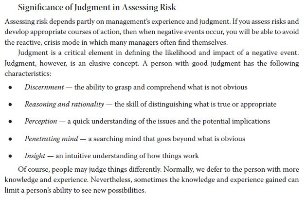 Significance of Judgment in Assessing Risk Assessing risk depends partly on managements experience and judgment. If you asse