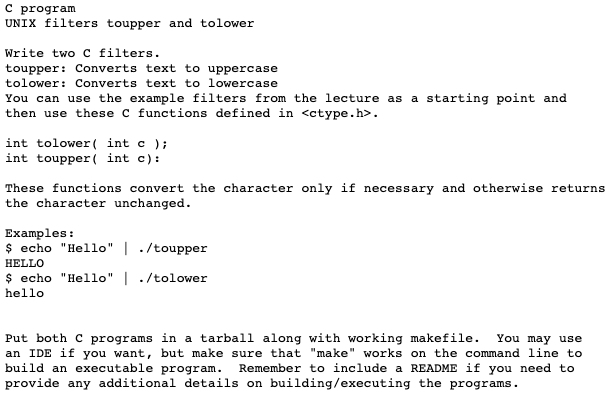 C Program UNIX Filters Toupper And Tolower Rite Tw