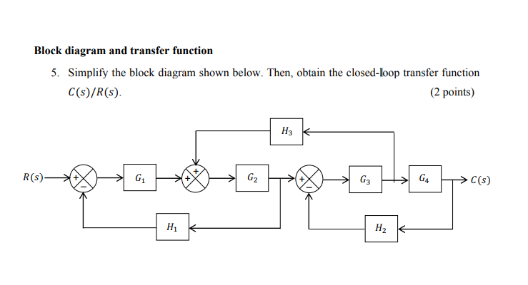Solved: Block Diagram And Transfer Function 5. Simplify Th... | Chegg.comChegg
