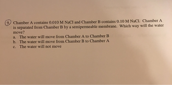 Chamber A contains 0.010 M NaCI and Chamber B contains 0.10 M NaCI. Chamber A is separated from Chamber B by a semipermeable
