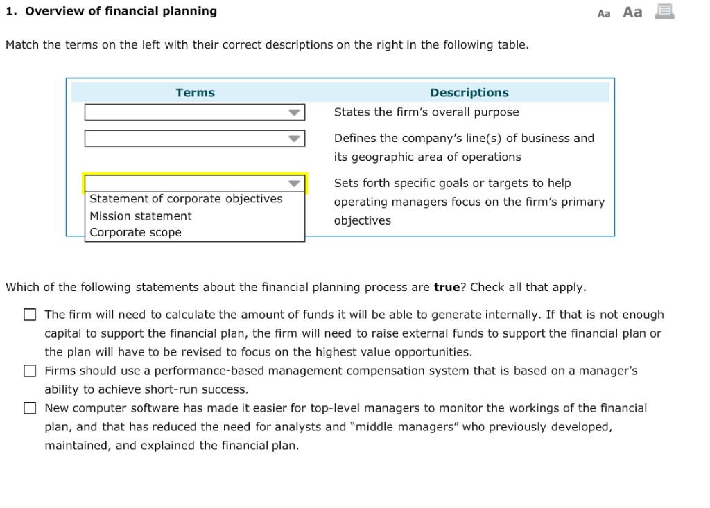 Solved: 1  Overview Of Financial Planning Aa Aa Match The