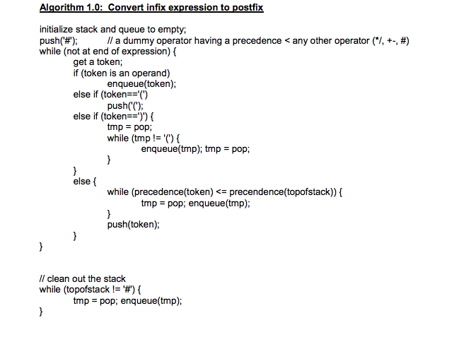 Algorithm 1.0: Convert infix expression to postfix initialize stack and queue to empty; push(#) while (not at end of expres