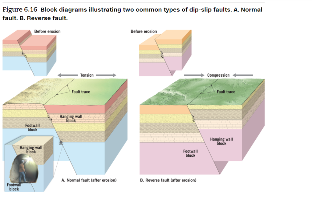 figure 6 16 block diagrams illustrating two common types of dip-slip faults