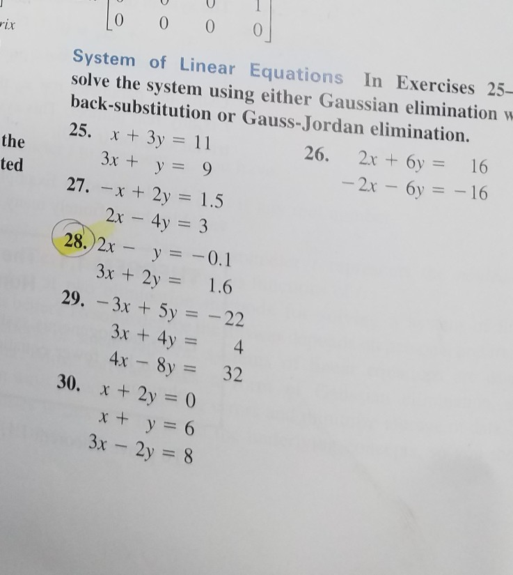 Solved: System Of Linear Equations In Exercises 25- Solve