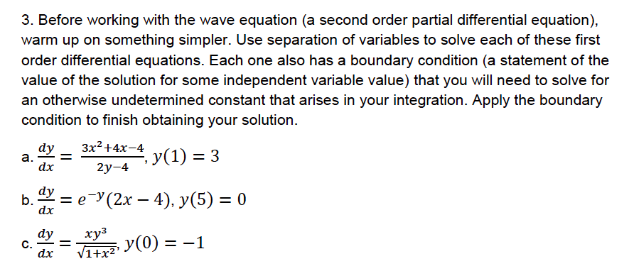 Solved: 3  Before Working With The Wave Equation (a Second