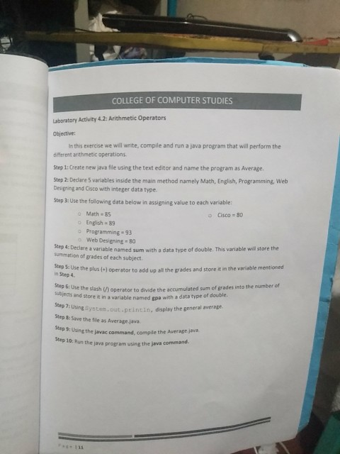 Solved: COLLEGE OF COMPUTER STUDIES Laboratory Activity 4