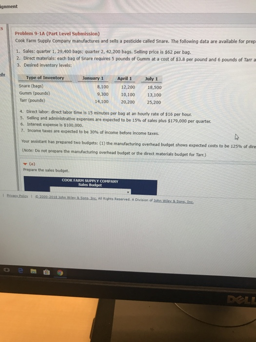 Ignment Problem 9 1A Part Level Submission Cook Farm Supply Company Manufactures And