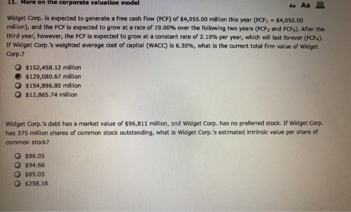 Solved: 1  More On The Corporate Valuation Model Aa Aa Wid