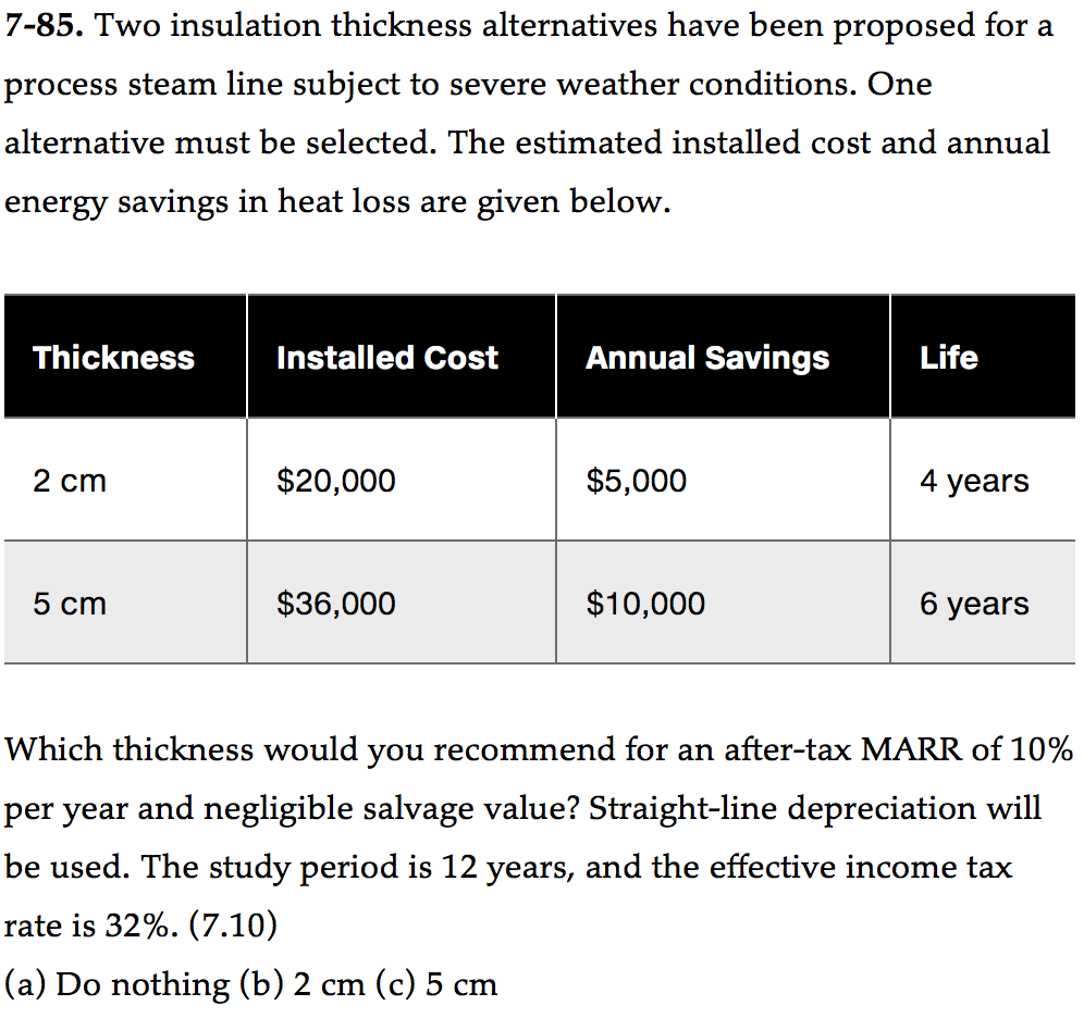 Solved: Two Insulation Thickness Alternatives Have Been Pr