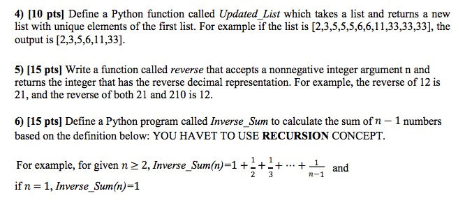 Solved: 4) [10 Pts] Define A Python Function Called Update