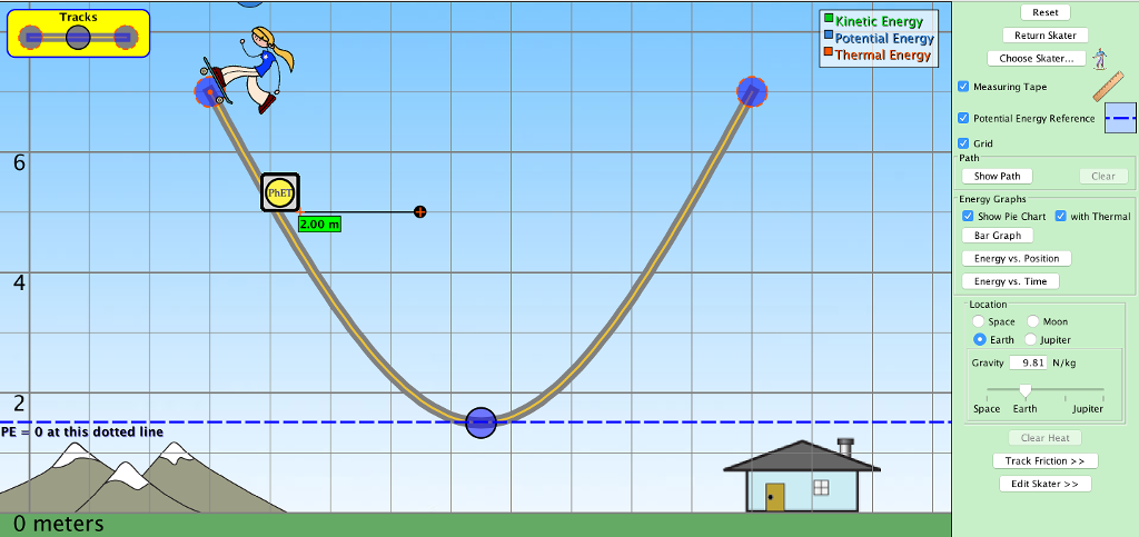 kinetic energy and skater At what point on the track (high, halfway down, low) is the skater's kinetic energy highest c observe at the bars for kinetic and potential energy as they change from this observation, what relationship do.