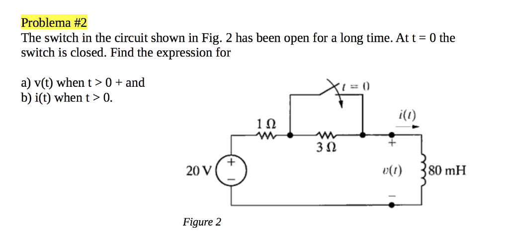 Solved: The Switch In The Circuit Shown In Fig. 2 Has Been ...