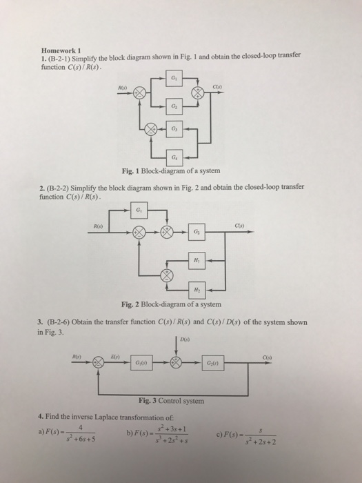 Solved  Simplify The Block Diagram Shown In Fig  1 And Obt