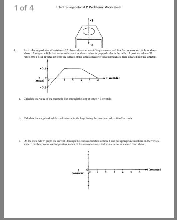 1 of 4 Electromagnetic AP Problems Worksheet -B A circular loop of wire of resistance 02
