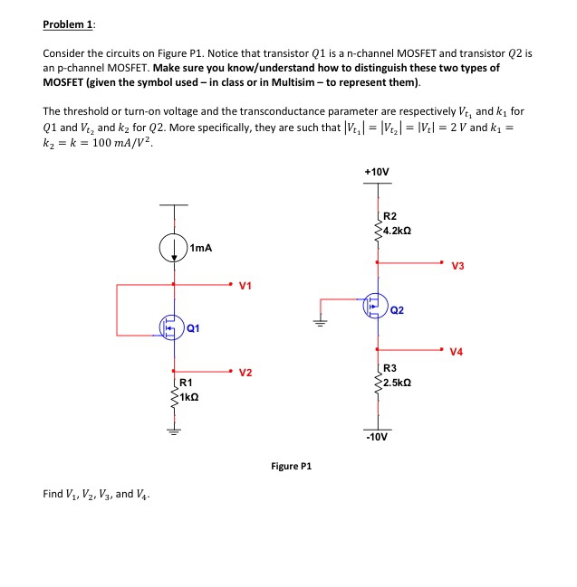 Solved: Problem 1: Consider The Circuits On Figure P1  Not