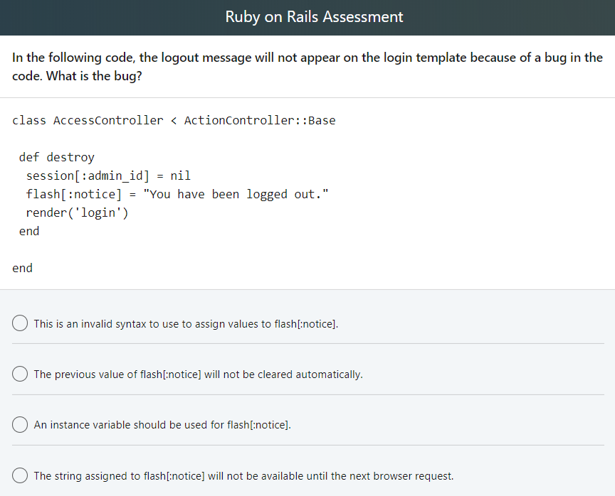 Solved: Ruby On Rails Assessment Given The Following Contr