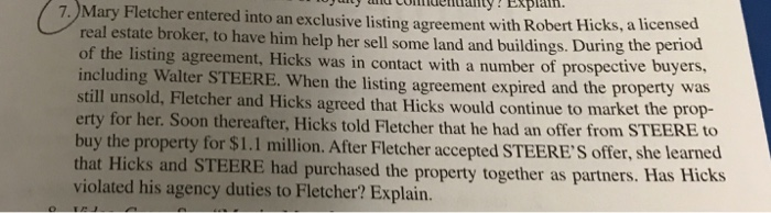 Solved Mary Fletcher Entered Into An Exclusive Listing Ag