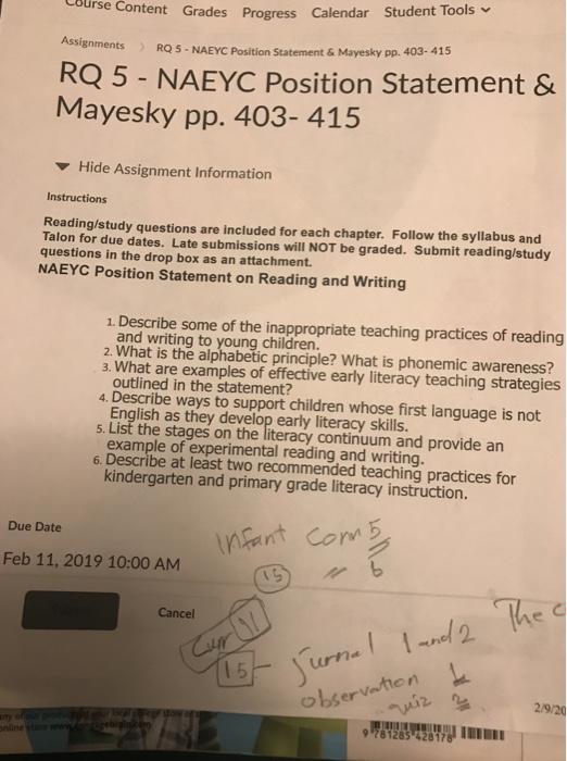 Solved: Grades Progress Calendar Student Tools RQ 5 NAEYC
