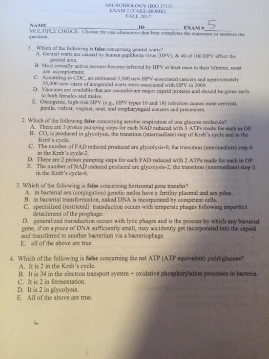 Solved  Microbiology  Bio 3713  Exam 2  Take