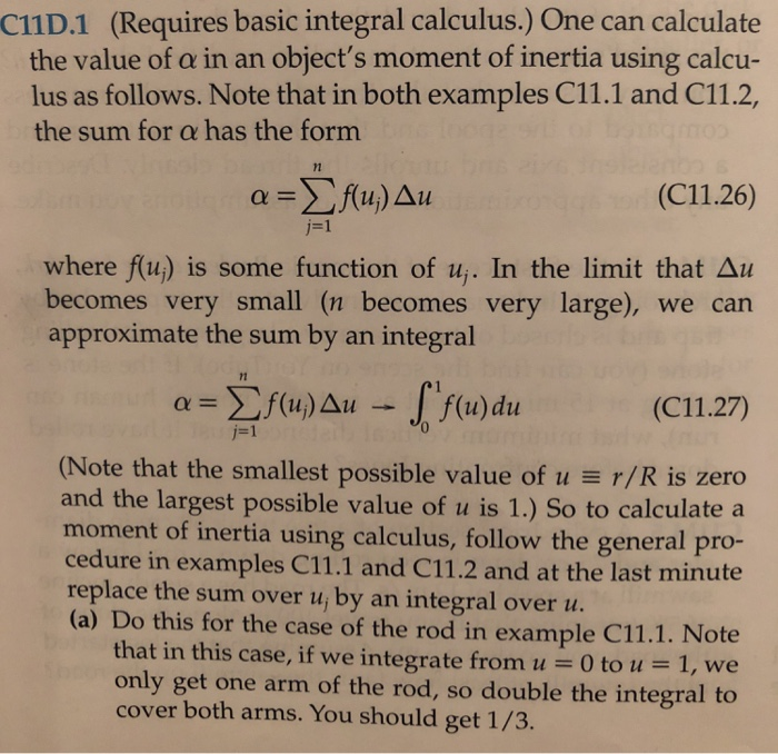Solved: C11D 1 (Requires Basic Integral Calculus ) One Can