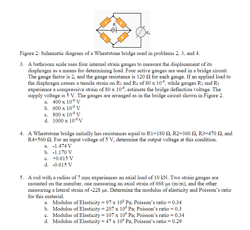 e, figure 2: schematic diagram of a wheatstone bridge used in problems 2,