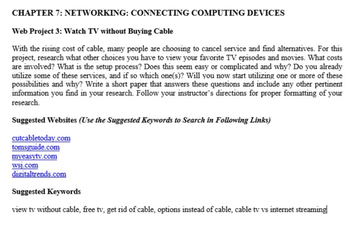 Solved: CHAPTER 7: NETWORKING: CONNECTING COMPUTING DEVICE