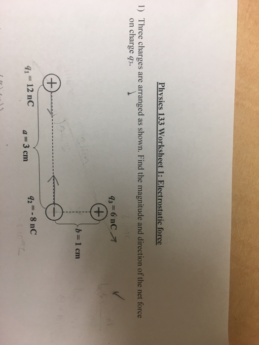Solved Physics 133 Worksheet 1 Electrostatic Force 1 Th