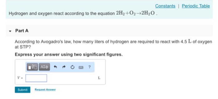 Solved Constants I Periodic Table Hydrogen And Oxygen Rea