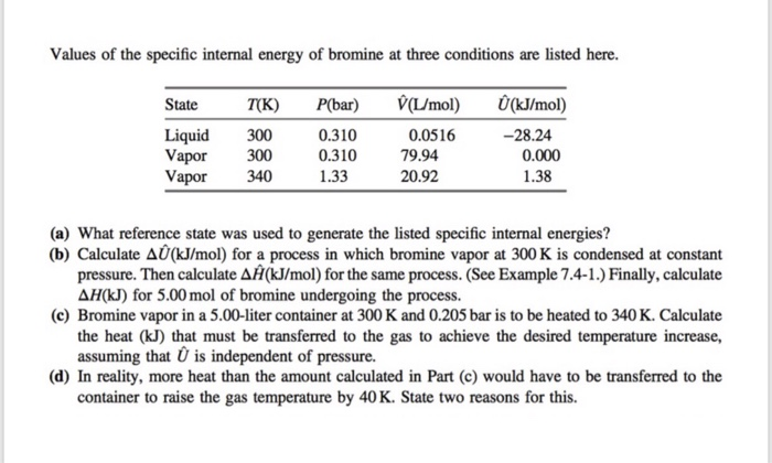 Values of the specific internal energy of bromine at three conditions are listed here. State T(K) P(bar) V/mol Ü(kJ/mol) Liquid 300 Vapor 300 Vapor 340 0.310 0.310 1.33 0.0516 79.94 20.92 28.24 0.000 1.38 (a) What reference state was used to generate the listed specific internal energies? (b) Calculate Δ0(kJ/mol) for a process in which bromine vapor at 300 K is condensed at constant pressure. Then calculate ΔH(kJ/mol) for the same process. (See Example 7.4-1.) Finally, calculate AH(kJ) for 5.00 mol of bromine undergoing the process. (c) Bromine vapor in a 5.00-liter container at 300 K and 0.205 bar is to be heated to 340 K. Calculate the heat (kJ) that must be transferred to the gas to achieve the desired temperature increase, assuming that is independent of pressure. (d) In reality, more heat than the amount calculated in Part (c) would have to be transferred to the container to raise the gas temperature by 40 K. State two reasons for this.