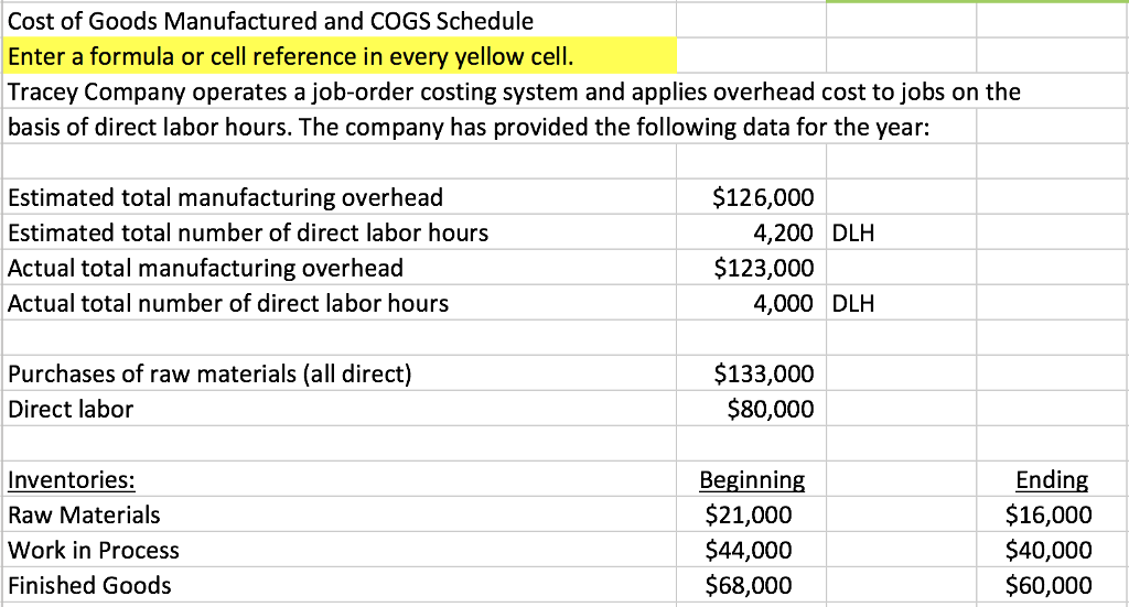 Solved: Cost Of Goods Manufactured And COGS Schedule Enter