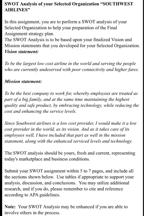 southwest airlines swot