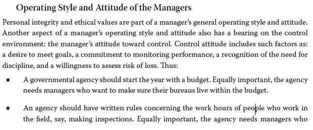 Operating Style and Attitude of the Managers Personal integrity and ethical values are part of a managers general operating