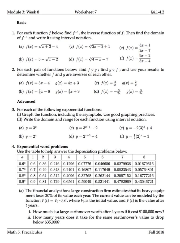 Solved: Module 3: Week 8 Worksheet 7 4.1-4.2 Basic 1. For ...