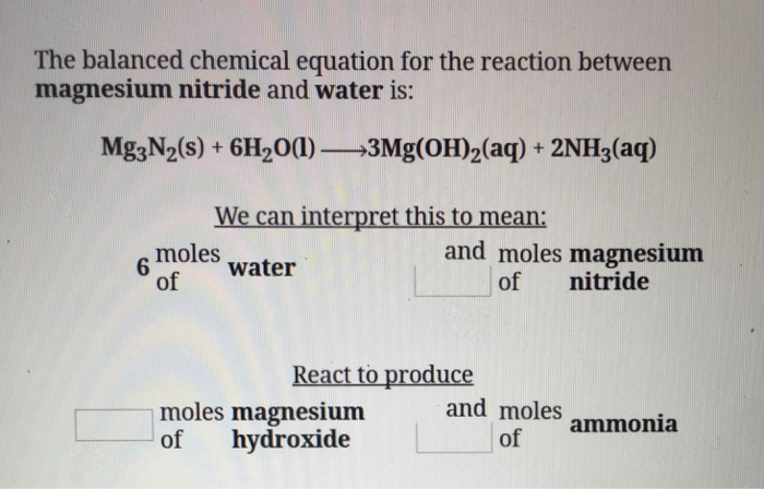 Solved The Balanced Chemical Equation For The Reaction Be