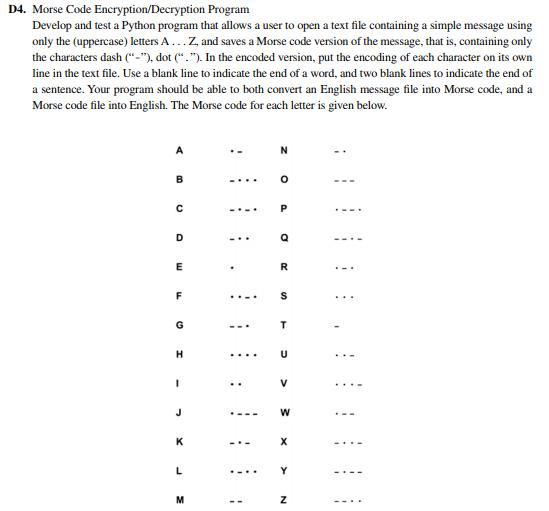Solved: D4  Morse Code Encryption/Decryption Program Devel
