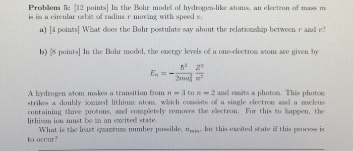 Solved In The Bohr Model Of Hydrogen Like Atoms An Elect