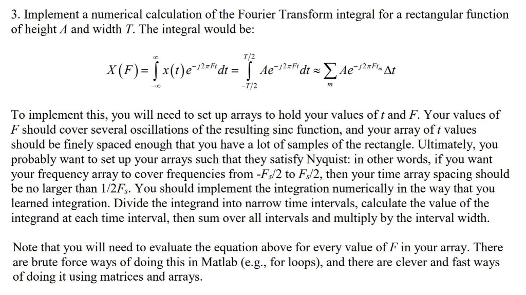 3  Implement A Numerical Calculation Of The Fourie
