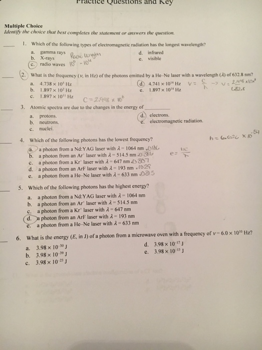 Solved: Ractice Questions And Key Multiple Choice Identify