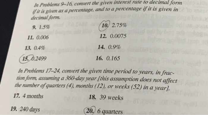 In Problems 9 16 Convert The Given Interest Rate To Decimal Form Fir Is