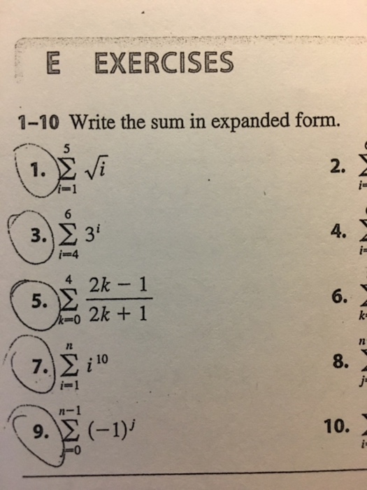 Solved Write The Sum In Expanded Form 1 Sigma5i1 Squ