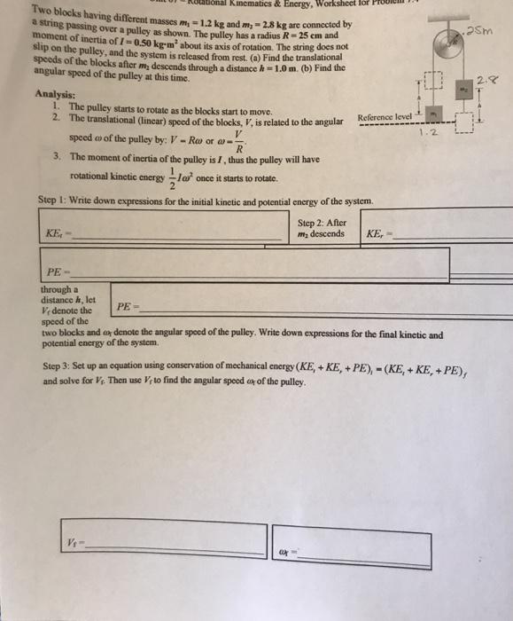 Solved: Kinematics&Energy, Worksheet For Prooic Two Blocks ...