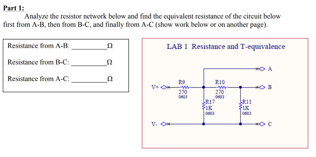 Astounding Solved Part 1 Analyze The Resistor Network Below And Fin Geral Blikvitt Wiring Digital Resources Geralblikvittorg
