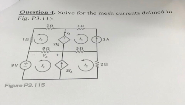 Question 4. Solve for the mesh currents defined in Fig. P3.115 2Ω 412 ΙΩ 2 A 24 8Ω 5Ω 2 31 Figure P3.115