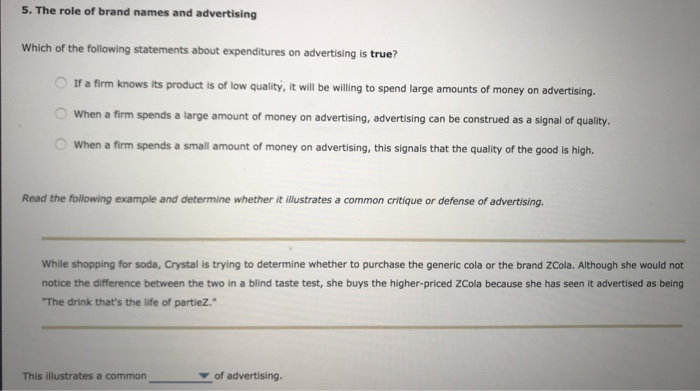 Solved: 5. The Role Of Brand Names And Advertising Which O ...