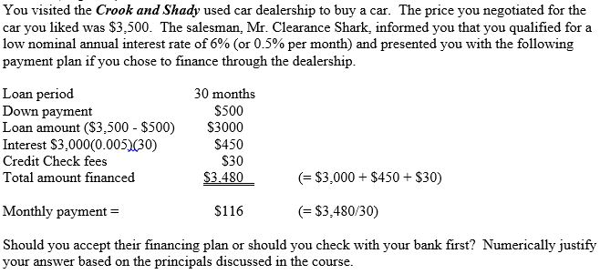 Solved: You Visited The Crook And Shady Used Car Dealershi